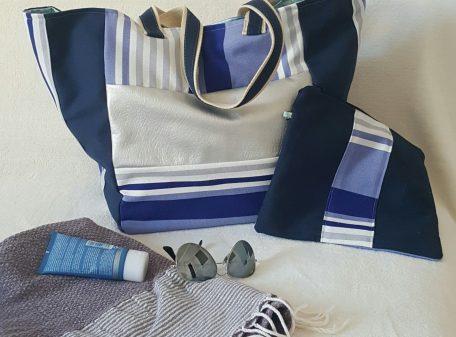 Cabas de plage XL bleu souris ensemble pochette marine rayé tissus enduit fleur bleu