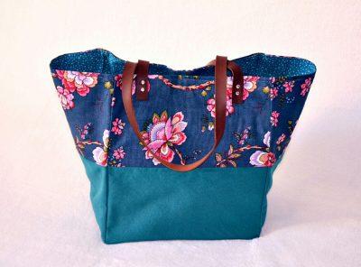 Cabas XL Duo Bleu Souris, bleu canard et fleurs vintages