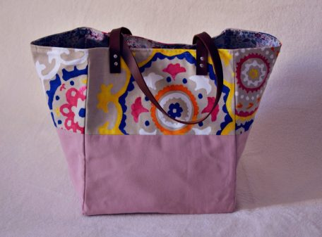 Cabas XL Duo vieux rose, fleurs vintages et liberty rose