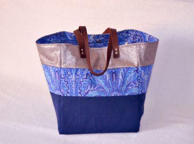 Cabas XL Horizon Bleu Souris, paillette, fleurs vintages
