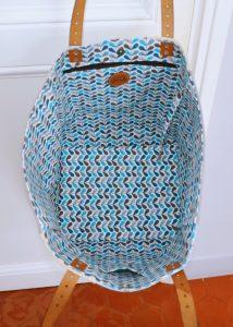 Cabas XL patchwork bleu et blanc avec une étoile en paillettes - Bleu Souris