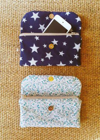 Pochette pour portable bleu étoile et liberty - Bleu Souris
