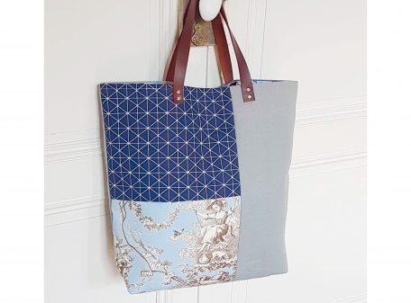 Sac mosaïque bleu - Bleu Souris - Face 1