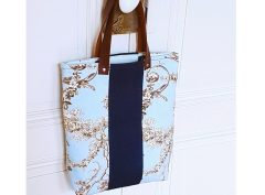 Mini cabas bleu et noir en toile de Jouy - Vue de face - Bleu Souris