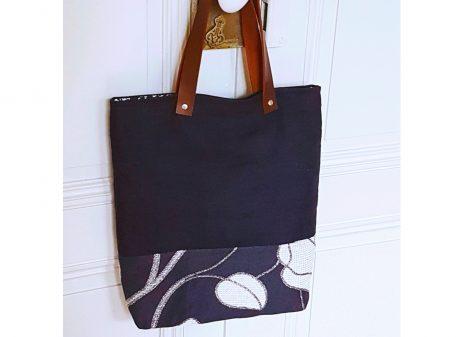 Mini cabas noir et argent - Vue de face - Bleu Souris