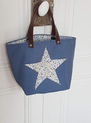 Cabas swap bleu et liberty vue de face - Bleu Souris